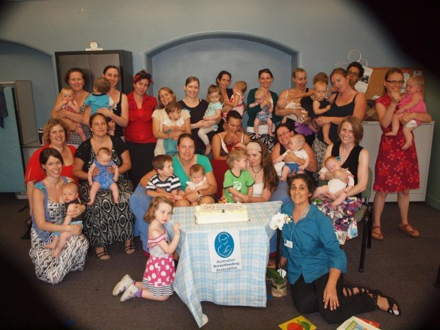 Mums and kids celebrate at the Australian Breastfeeding Association northern rivers birthday bash.