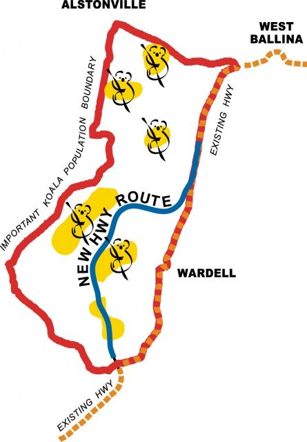 The new route for the Pacific Highway Upgrade shown in blue passes through the 'Important Koala population' area (red boundary) and separates areas of higher koala activity shown in yellow (less than 23 per cent contour from the recent Ballina koala study). Image Rob McIntyre.