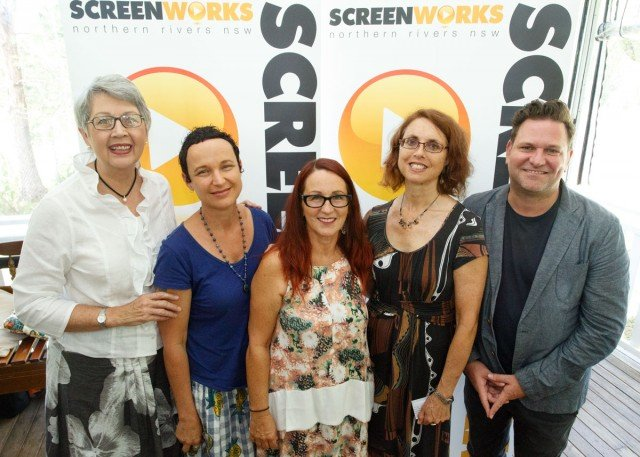 Screenworks Professional Development Launch: Lismore Mayor Jenny Dowell, Screenworks Chairperson and producer Lois Randall, writer producer Deb Cox, Screenworks General Manager Jill Moonie, Byron Shire Mayor Simon Richardson.
