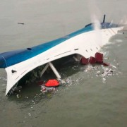 South Korean ferry Sewol sinking in the sea off Jindo on April 16. Photo provided to news agencies by Korea Coast Guard.