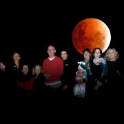 Echo drudges take a few moments to examine Wednesday's portentous Blood Moon. Photo imaging Eve Jeffery