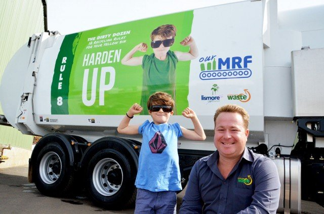 Lismore City Council Waste Operations Coordinator Kevin Trustum with MRF education campaign star Tui Simpson, 7, and one of the new garbage trucks.