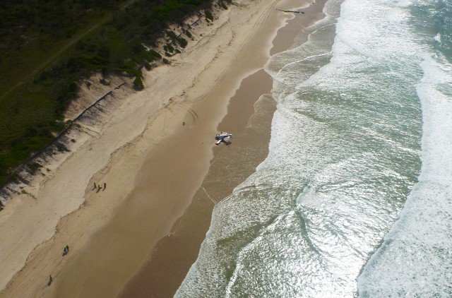 Ultralight plane crash at Broadwater, April 30, 2014. Photo courtesy Westpac Life Saver Rescue Helicopter