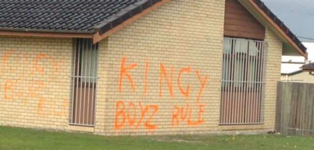 The graffiti sprayed on Kingscliff Police Station. Photo supplied