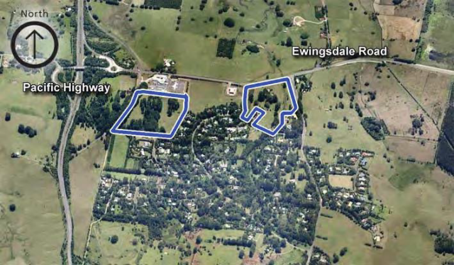 The proposed sites of the Byron Central Hospital (marked on the left) and 'seniors' development (box on the right) for 166 houses, nursing home and shopping centre.