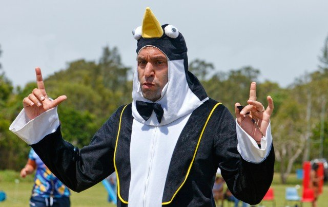 Byron Bay Rugby 7s ref Johnny Hill, who wore a penguin suit during the 2013 competition. Photo Eve Jeffery