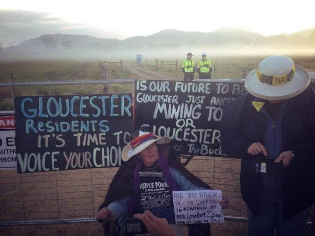 Gloucester woman Kate Fry who attached herself to the entry gate of AGL's controversial coal seam gas project. Photo: Lock the Gate Alliance