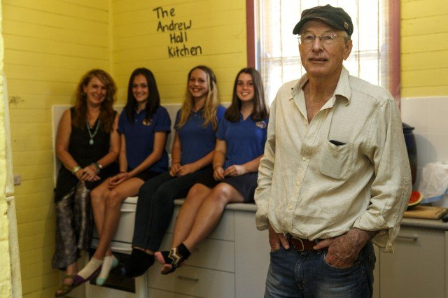 Benefactor Andrew Hall, front, with from left, youth worker Deb Pearse, Rhianna, Yana and Rebecca. Photo Eve Jeffery