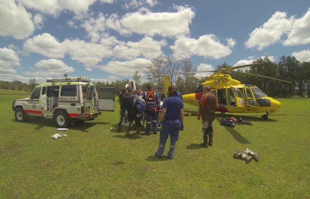 A patient was transferred onto the aircraft at Woodenbong Oval after a trail bike accident. (supplied)