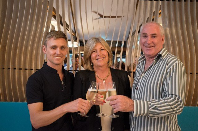 Three cheers: L to R: Development director Jeremy Holmes, owner Peggy Flannery and Sun Bistro manager Glenn Pengilly. Photo Jeff 'Glass Half Full' Dawson