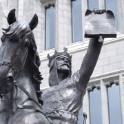 `Robert the Bruce was King of Scots from 1306 until his death in 1329. Robert was one of the most famous warriors of his generation, and eventually led Scotland during the Wars of Scottish Independence against England. Statue of Robert the Bruce in front of Marischal College.