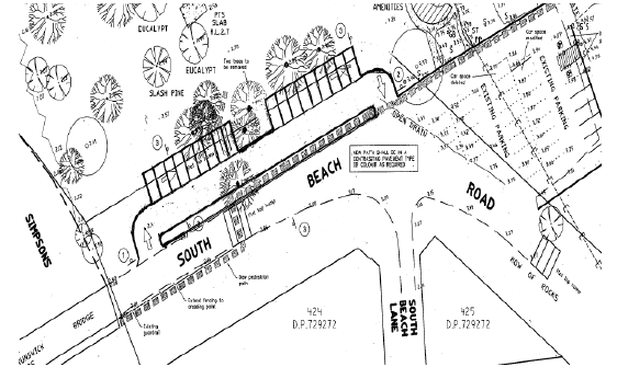 The layout of the car park.