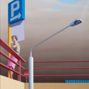 Jeffrey Smart (1921–2013), Fiumicino car park 1975, oil on canvas, 60.2 x 60 cm. Rockhampton Art Gallery collection, Art Acquisition Fund, purchased with the assistance of the Visual Arts Board of the Australia Council 1976. © Reproduced with permission of the artist and Australian Galleries, Melbourne and Sydney.