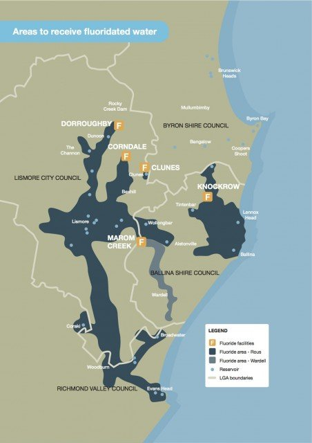 A map showing areas of the northern rivers that will receive fluoridated water. (Rous Water)