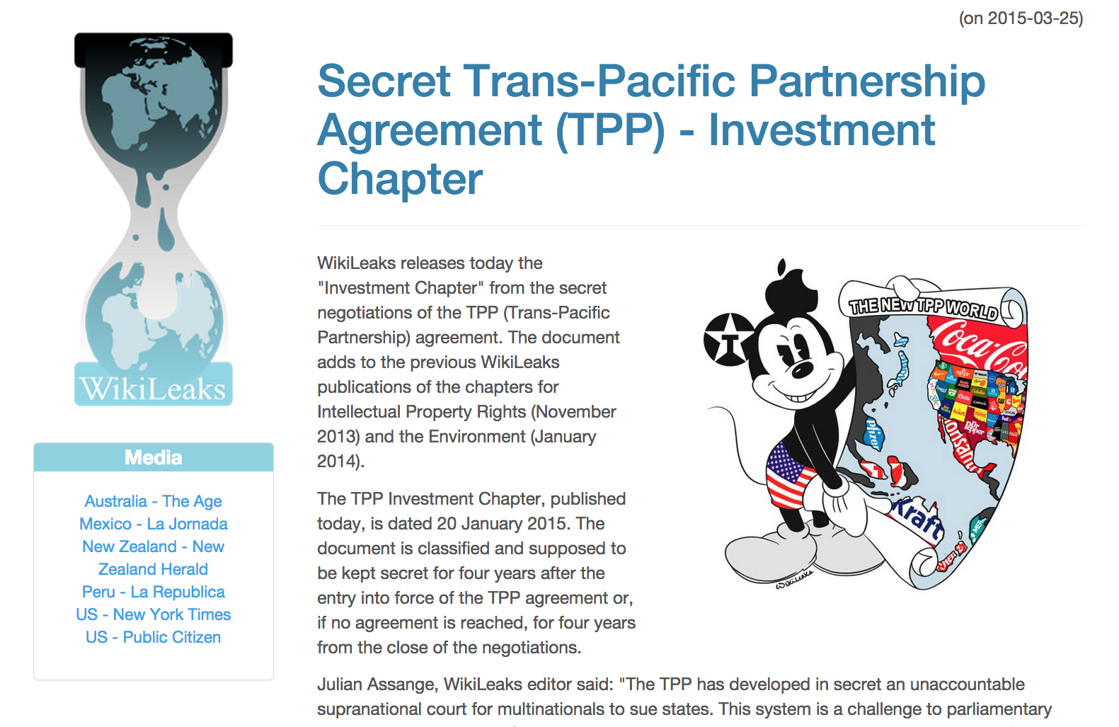 Wikileaks Releases Secret Trade Doc Echonetdaily