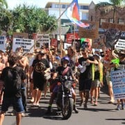 The Protect Byron rally moves down main street. Photo supplied
