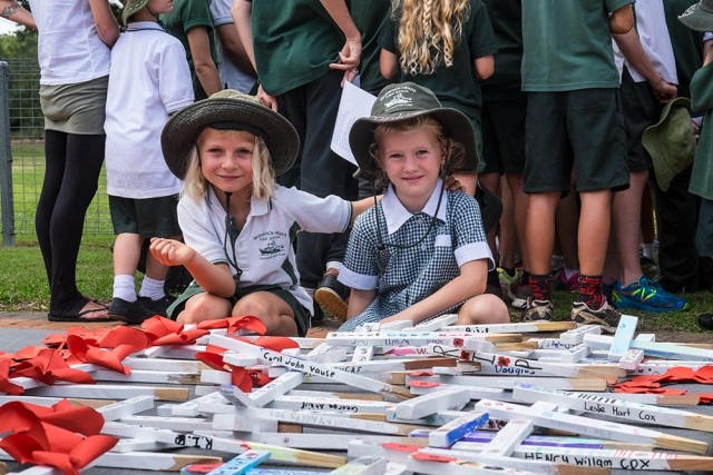 Brunswick Primary, K1/2 students Willow Fitzgibbon and Frankie Haberfield with some of the crosses the school has decorated.