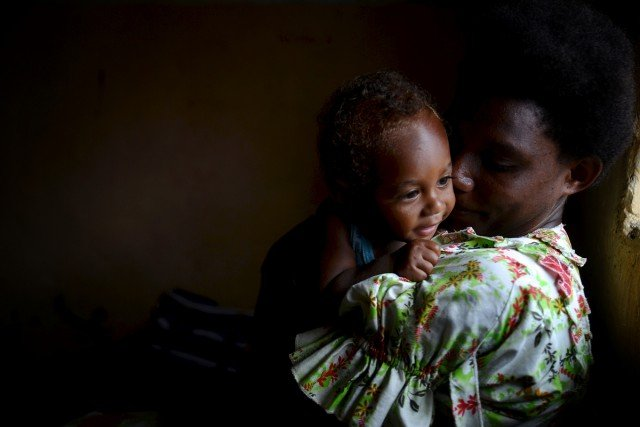 Mother and child in Imaiyo village, Tanna, Vanuatu. Photo Tom Perry (CARE).