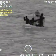 An infrared camera shot from Guardia di Finanza shows the operation to rescue migrants in the Strait of Sicily on April 19. EPA/Guardia di Finanza