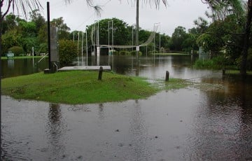 Part of the North Beach (then Becton) resort site in flood in June 2005. Photo Andrew Murray