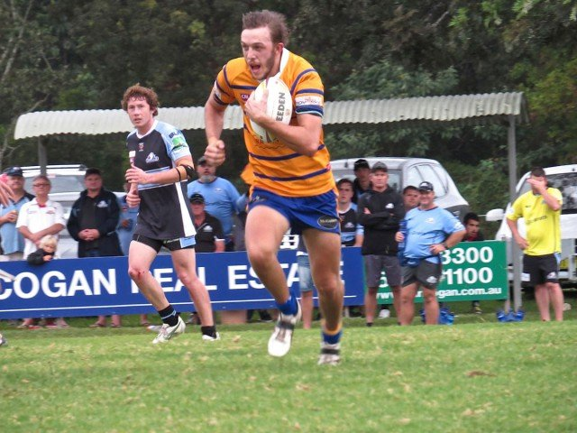 Mullumbimby full-back, Rhys Carruth, spies an opening in the Seagulls' defence at Les Donnelly Field. Photo John Campbell.