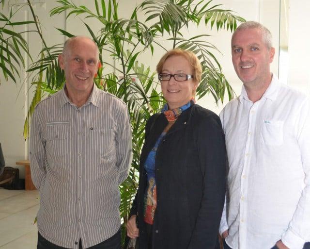 The Enova Energy team: L-R  CEO Steve Harris, chair Alison Crook and techonology manager Patrick Halliday. Photo Enova Energy