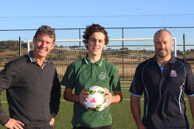 Southern Cross Football Centre general manager Scott Collis, Kadina High student Tom Pitman and Richmond River High teacher John Eakin are looking forward to some great football. Photo Lachlan Collis.