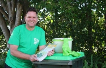 Byron shire mayor Simon Richardson was on hand and getting sorted this week checking out the deliveries of the new organics bins. Photo supplied
