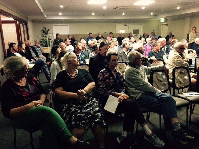 A section of the crowd at the public meeting to debate the Woolworths proposal, held at Murwillumbah Golf Club on Tuesday night. Photo supplied