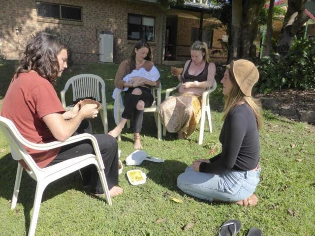 Peace and tranquility for new mums outside Mullum hospital's popular birthing unity recently. Photo David Bradbury