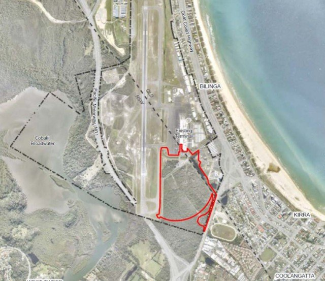 The heavily-vegetated wetland area south of the airport at Coolangatta will be wiped out for a major expansion of the runway. Image Tweed Shire Council
