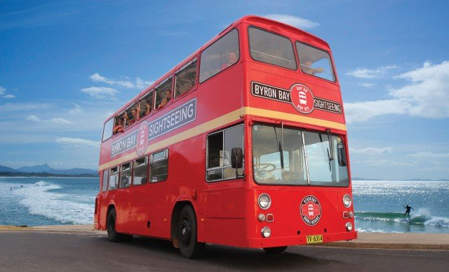 The double-decker sister of Byron's Magic Bus will run a regular hop-on, hop-off route around the town. Image supplied