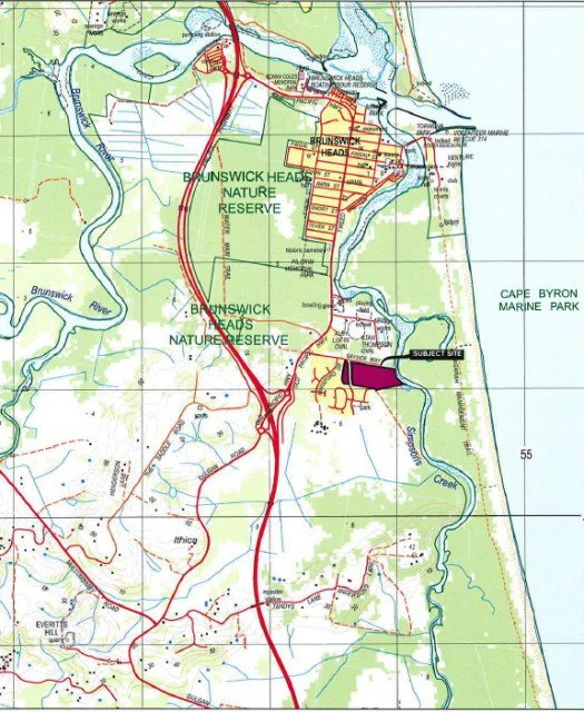 The bayside residential encklave is 2.5kms south of the Brunswick Heads township. Image Planners North