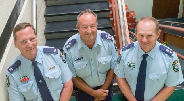 Byron Inspector Greg Jago, Sergeant Brad Stewart of Tweed/Byron Licensing and Supt Starling. (Picture Jeff Dawson)