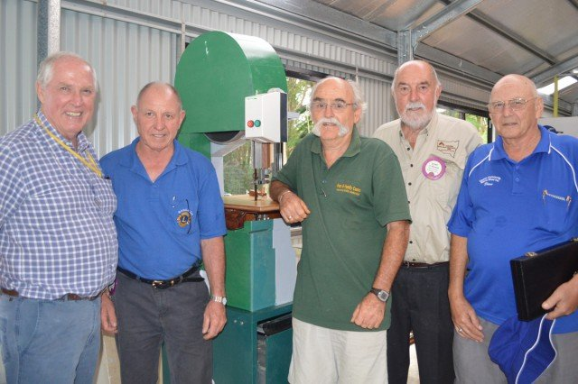 More support sought: L to R Brian Mackney (Bangalow Men's Shed president), Chris Haywood (Bangalow Lions president), Andrew Winton-Brown (Lismore Men's Shed president), Tony Heeson (regional delegate to AMSA) and Dean Box (Casino Men's Shed president).