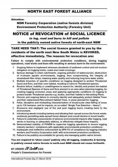 The 'revocation of social licence' served on NSW Forestry Corporation today (March 21).