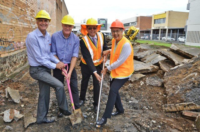 Turning the first sod at 214 Molesworth Street, Lismore, are (l-r) Bennett Constructions director Darryl Piper, Chamber of Commerce president Andrew Gordon, Lismore City Council's executive director sustainable development Brent McAlister and Lismore mayor Jenny Dowell.