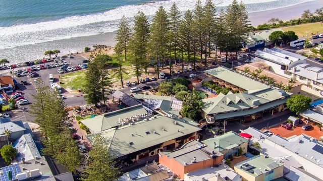 Aerial view of Byron Bay's Beach Hotel, which is for sale for $75 million. Photo supplied