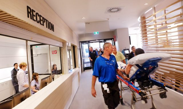 Byron Central Hospital admits its first patient, Victor Retallick from Ocean Shores, on its first day of opening, Tuesday June 7, 2016. Photo Jeff Dawson