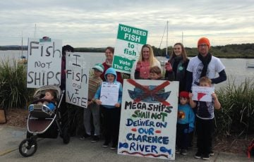 A small protest against the port of yamba concept. (supplied)