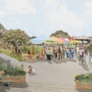 AN image from the Byron Bay master plan, which shows a possible redevelopment of Railway Park. (supplied)