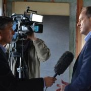 NZ Labour's foreign affairs spokesman David Shearer, right, talks to the media. Photo Mr Shearer's Facebook page.