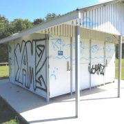 Vandalism and graffiti such as this is not uncommon at Black Rocks Sports Field. Would siting a Men's Shed there reduce it? Photo contributed