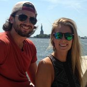 Sam Beattie and his girlfriend Michele Segalla in front of the Statue of Liberty before setting out on their 'holiday of a lifetime'. Photo Instagram