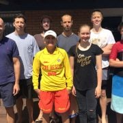 Bronze medalists: Justin, Nick, Mitchell, Terry (Brunswick SLSC Training Officer), Tom, Bethany (HInterland Christian College), Isaac (Lindisfarne Anglican Grammar School) and Sebastian (Xavier Catholic College).  Photo supplied