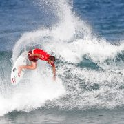 Matt Wilkinson charges the lip at the Pipe Masters. Photo WSL/Poullenot