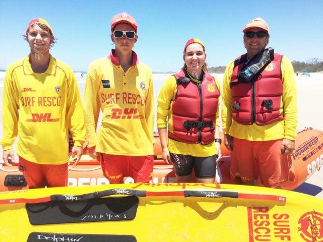 Surf life saving rescuers Sam Atkins, Bryce Holmes, Brianna Clarkson and Craig Reid. Photo Guy Knox