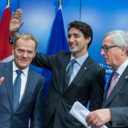 President of the European Commission, Jean-Claude Juncker (R), Canadian Prime Minister Justin Trudeau (C) and EU Council President Donald Tusk (L) during a press conference at the end of an EU-Canada summit where they signed the agreement on the Comprehensive Economic and Trade Agreement (CETA), a planned EU-Canada free trade agreement, in Brussels, Belgium, October 2016. EPA/STEPHANIE LECOCQ