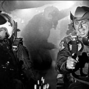 Slim Pickens, right, as Major Kong, gets ready to drop the A-bomb which begins the end of the human race in Stanley Kubrick's 1964 satirical film Dr Strangelove.