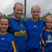 Preparing for the gala day are Mullumbimby Brunswick Valley Football Club members Kelly Donnelly (women's 5th div), Reece Donnelly (Grade 16 girls), Lilly and Macey Donnelly (grade 12 girls). Photo supplied.